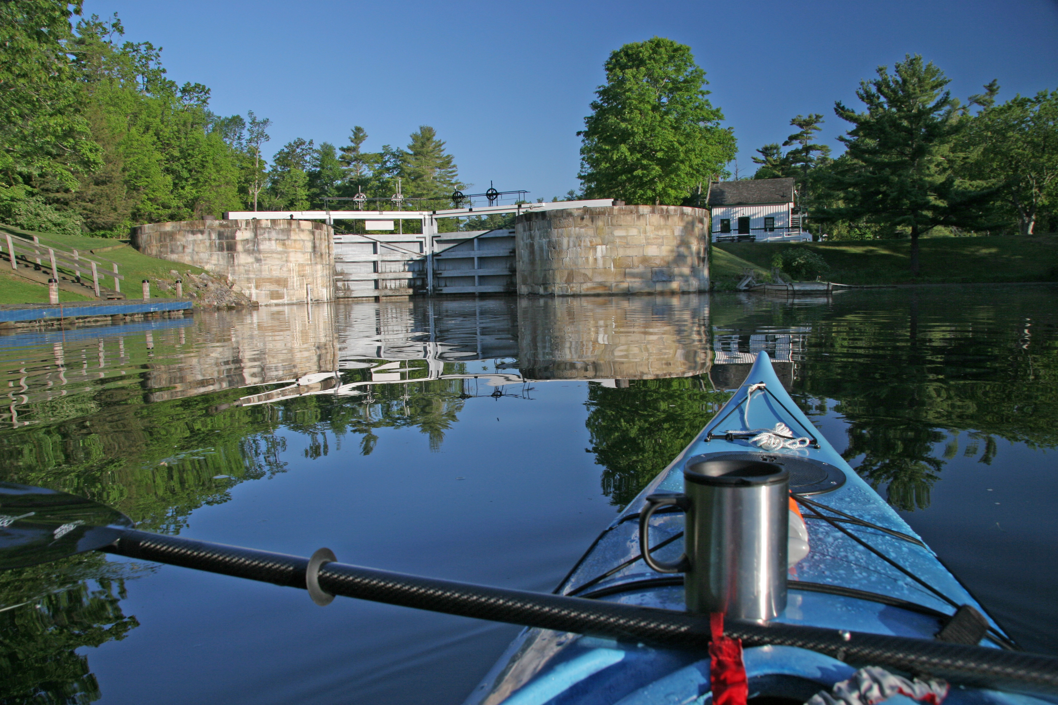 Image of a First person view in a kayak.