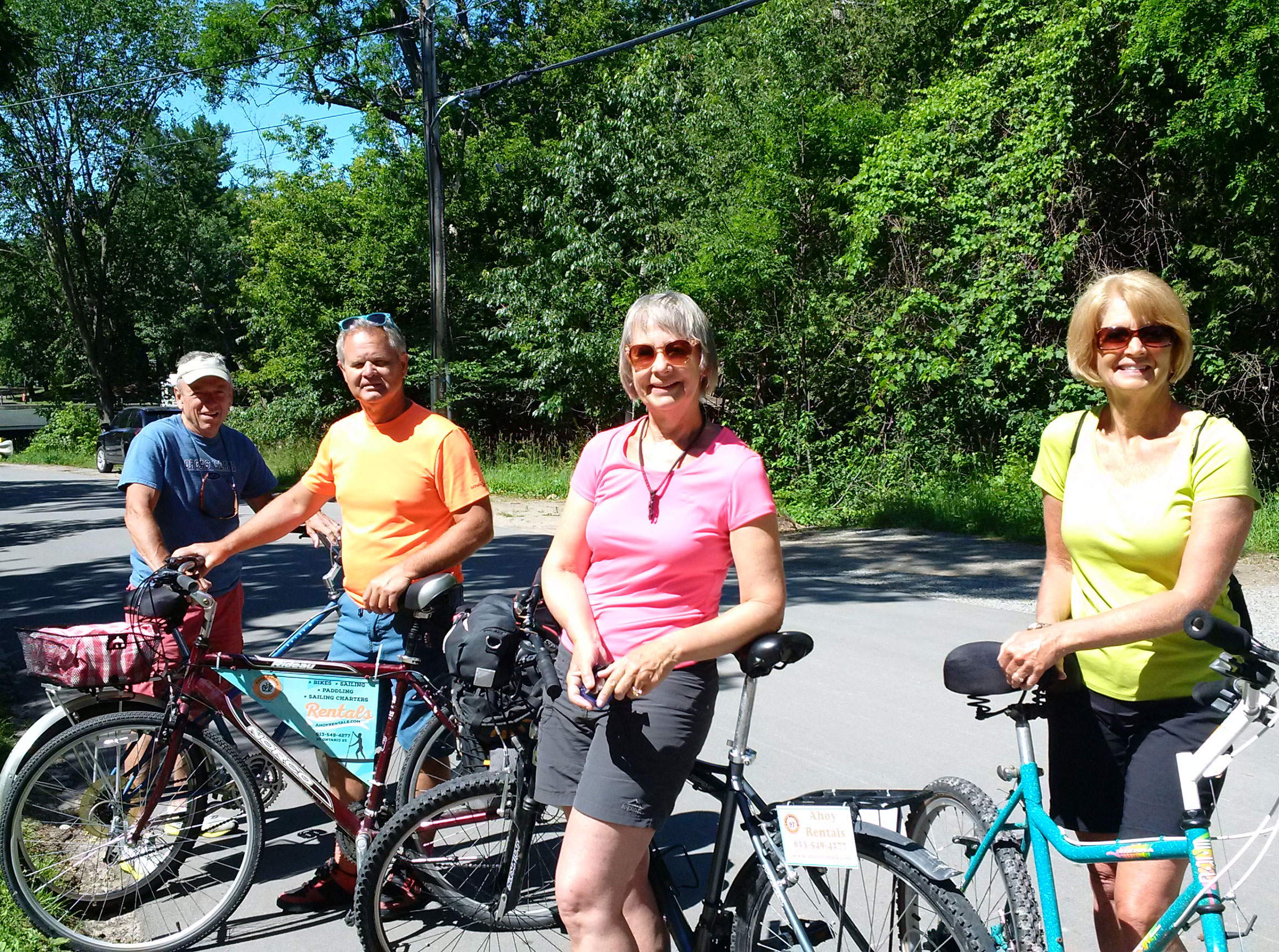 Image of a group of people with rental bikes.